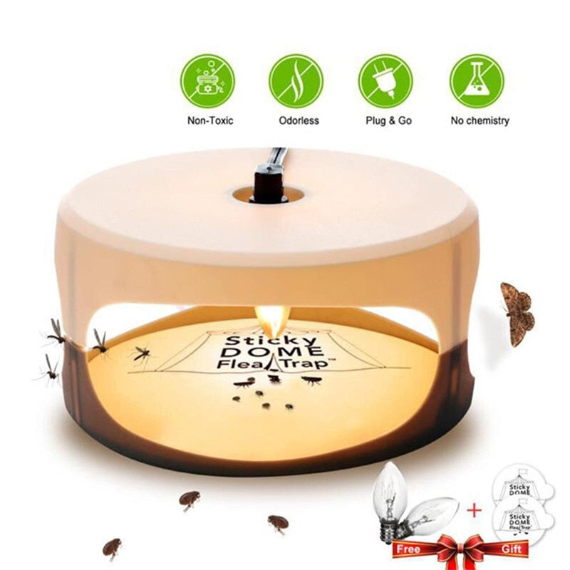 Useful Sticky Dome Flea Trap Lamp Refill Non-Poisonous with 2 Stickers Safe Bed Bug Killer Trap Fly Killer - Smoulder Products