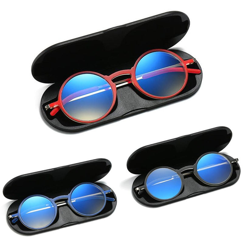 Thin Frame Round frames Tr90 reading glasses +aluminum magnetic case Folding Pocket Blue Light Blocking Presbyopic Eyeglasse 1.5 - Smoulder Products