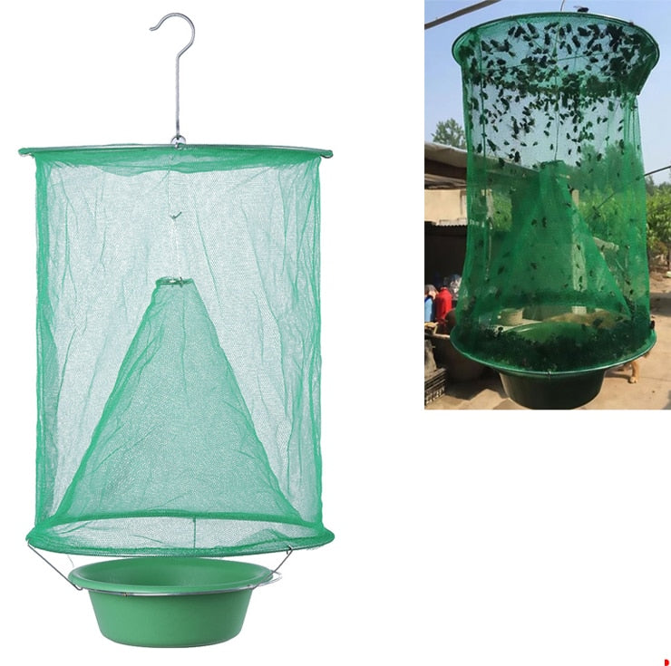 Gardening Hanging Folding Reusable Mosquito Capture Catch Fly Insect Trap Net Catcher Killer Cage with Bait Storage Pot - Smoulder Products