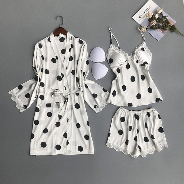 QWEEK Women Satin Sleepwear Polka Dot Pyjamas Women Silk Pijama Mujer Cute 3 Pieces Sets with Chest Pads Casual Pajama Sets - Smoulder Products