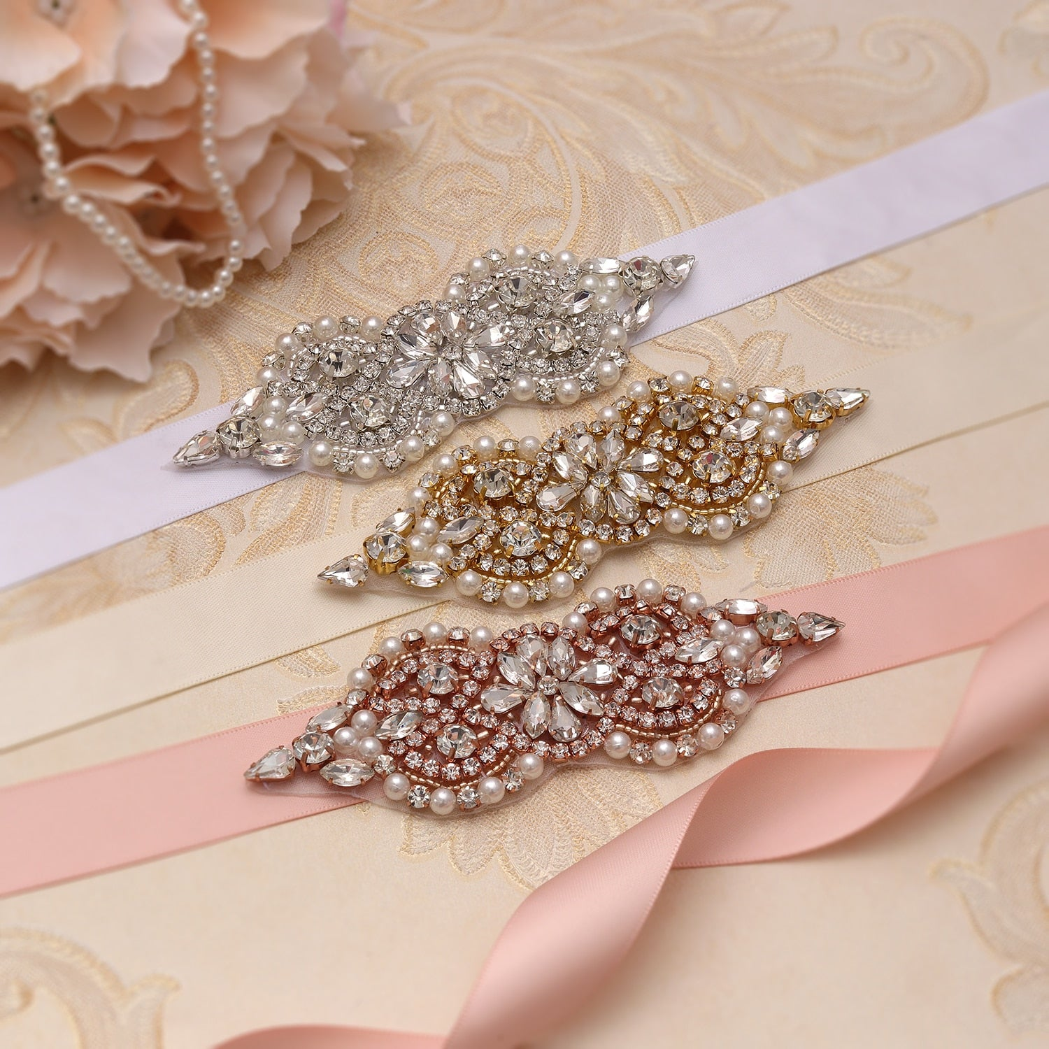 MissRDress Handmade Bridal Belt Silver Crystal Bridal Sash Rhinestones Pearls Wedding Belt And Sash For Wedding Dresses JK932 - Smoulder Products
