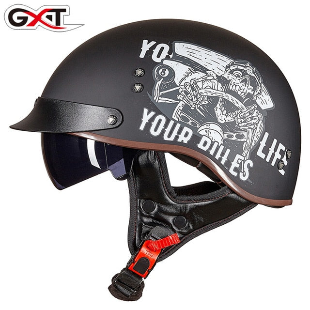 GXT Retro Vintage Motorcycle Helmet Moto Helmet Open Face Scooter Biker Motorbike Racing Riding Helmet With DOT Certification - Smoulder Products