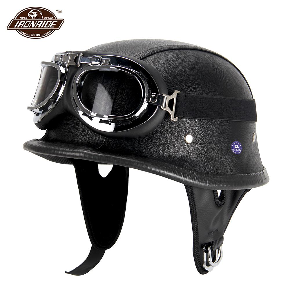 New Leather Motorcycle Helmet German Motorcycle Open Face Half Helmet Chopper Biker Pilot DOT BLACK - Smoulder Products