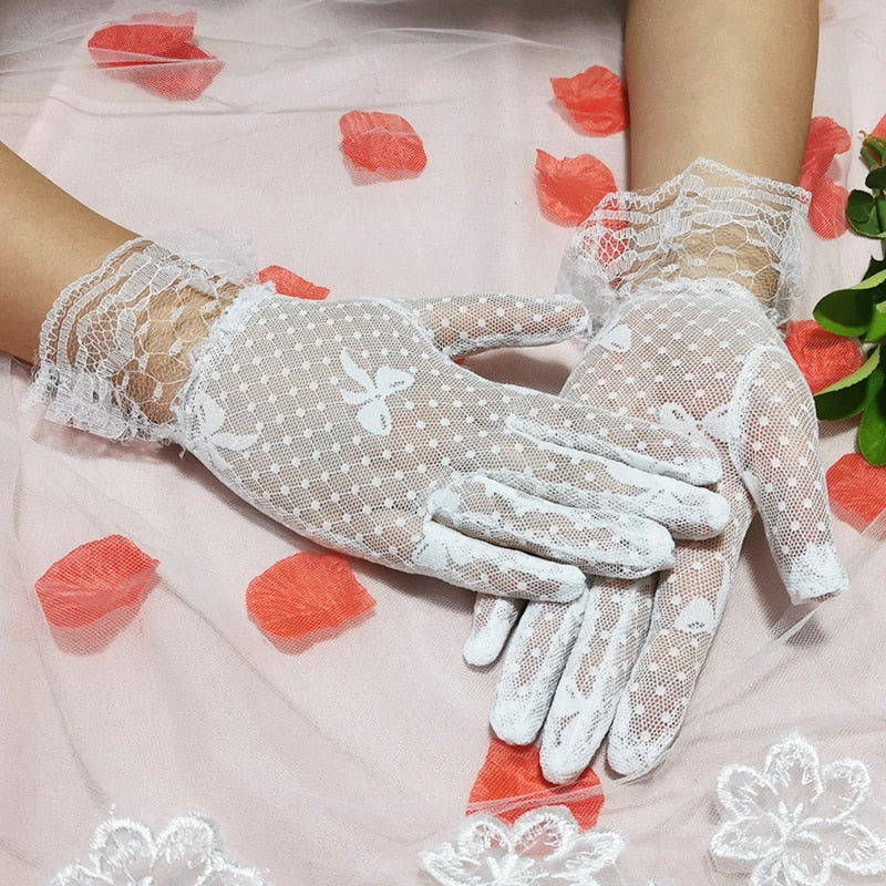 Women's Sexy Transparent Gloves Black White Pot Bowknot Sheer Tulle Gloves Ladies Summer Guantes Prom Party Dress Fishnet Gloves - Smoulder Products