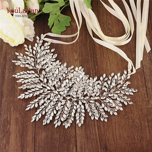 YouLaPan SH238 Fast Delivery Sliver Diamond Wedding Belts Wedding Dress Belts Accessories Rhinestone Belt Bridal Sash Belt - Smoulder Products
