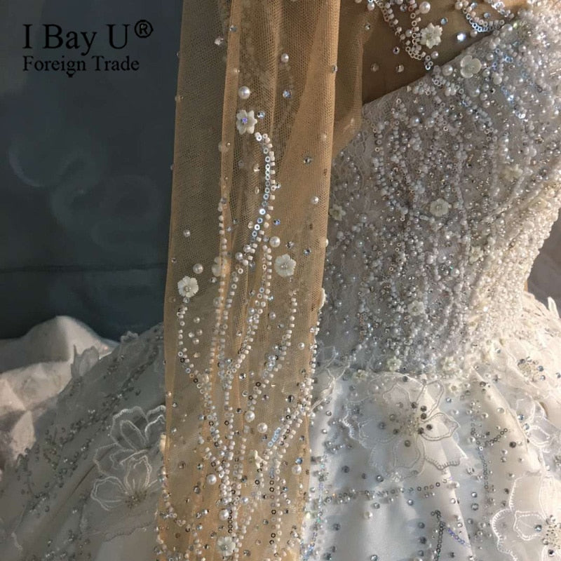 Luxury Wedding Dress 2020 Custom Made 3D Flower Pearl Bridal Dress with 3M Veil Beaded Lace Bridal Dress robe de mariée de luxe - Smoulder Products