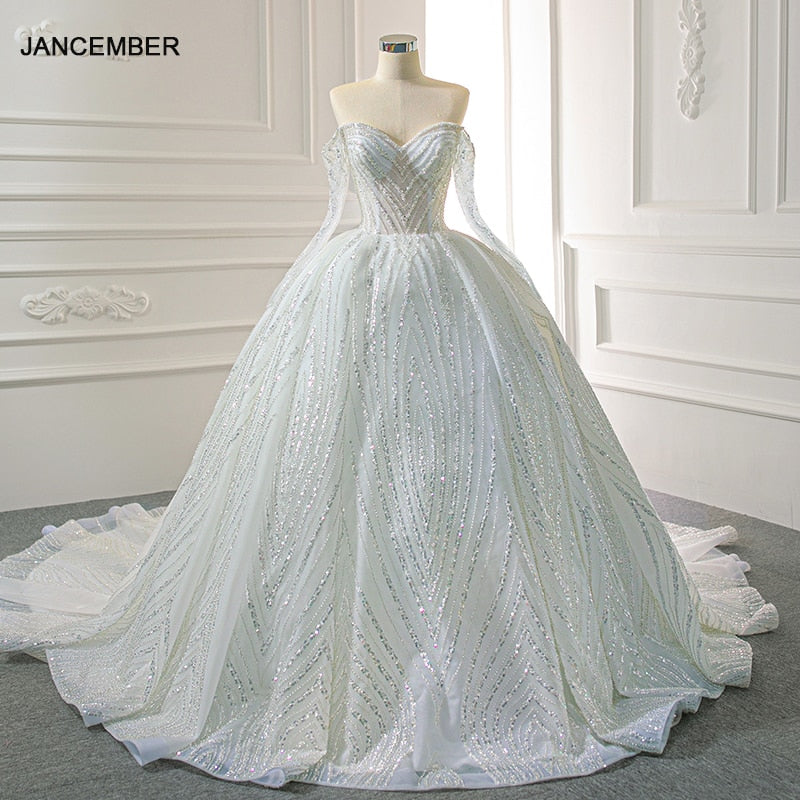 J67131 JANCEMBER Bridal Elegant Dress 2020 Sweetheart Sequined Off The Shoulder Chapel Train Ball-Gown Dresses вечернее платье - Smoulder Products