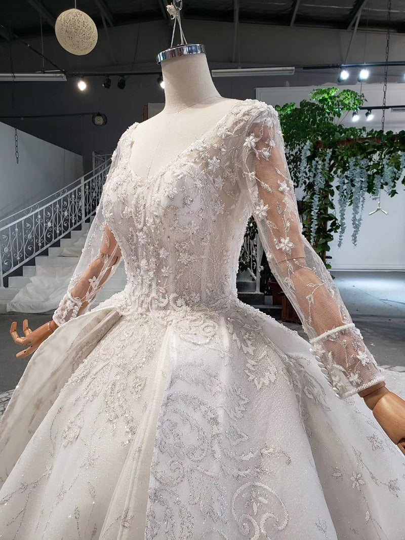 BGW HT41119 Luxury Wedding Dress Long Sleeve Appliques Button Back Heavy Handwork Wedding Gown With Bridal Veil Robe De Mariee - Smoulder Products