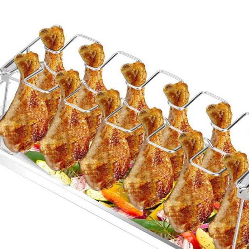 Chicken Leg and Wing Grill Rack Chicken Drumstick Roaster for Oven Smoker or Grill, Great for Barbeques, Picnics - Smoulder Products