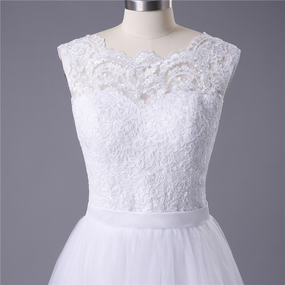 2020 New Lace O-Neck Lace Tulle Boho cheap Wedding Dresses Summer Beach Bridal Gown Bohemian Wedding Gowns robe de mariage - Smoulder Products