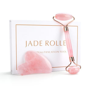 Natural Rose Quartz Roller Facial Jade Roller Stone Gua sha Scraper Face Lifting Massage Skin Eye Body Massager Beauty Care Tool - Smoulder Products
