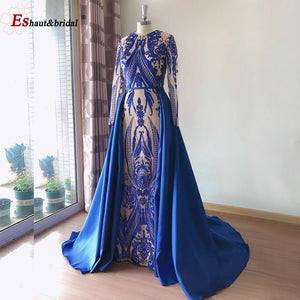 Long Sleeves Evening Dress 2020 Elegant Muslim Mermaid Long Sleeves with Detachable Train Sequin One Shoulder Prom Party Gowns - Smoulder Products