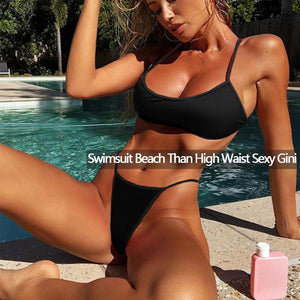 Women'S sex Swimwear thong Bikini Set Push-up black Bra Bathing Suit Female Swimming pool Beach sex backless Swimsuit Outfits - Smoulder Products