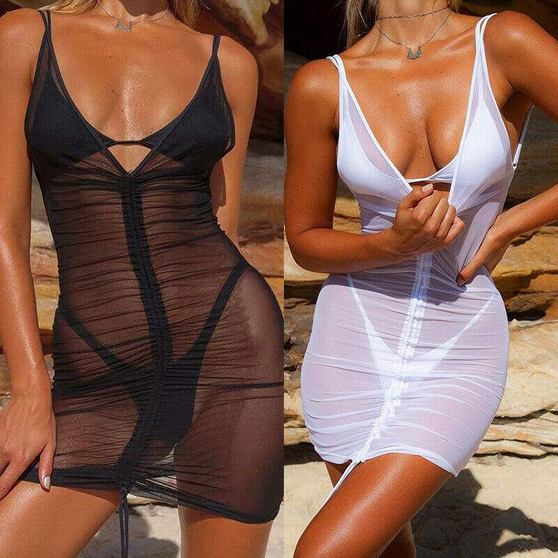 Women's Sheer Bikini Cover Up Swimwear Swim Bathing Suit Summer Beach pool party  V-neck sling slim mini Dress - Smoulder Products