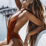Sexy women's one-piece suit swimsuit solid color deep v backless swimwear bandage push up beachwear - Smoulder Products