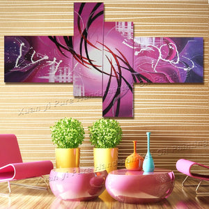 Handpainted  Wall Art Peacock Home Decor Modern Abstract Decorative 4 Piece Reproduction Oil Painting On Canvas For Living Room - Smoulder Products