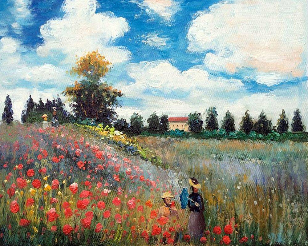 Famous Canvas Wall Oil Painting Reproduction Poppy Field in Argenteuil by Claude Monet Wall Art for Home Decor Hand Painted - Smoulder Products