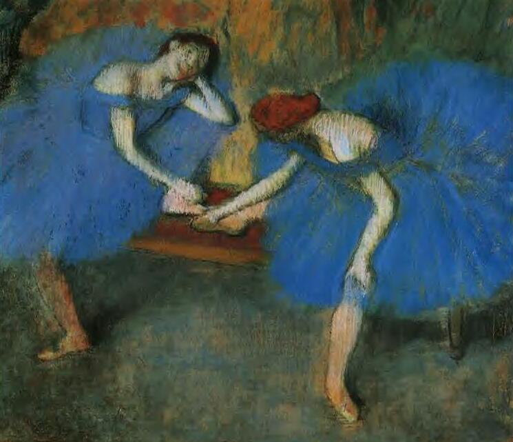 High quality Oil painting Canvas Reproductions Two Dancers in Blue (1899)   By Edgar Degas hand painted - Smoulder Products