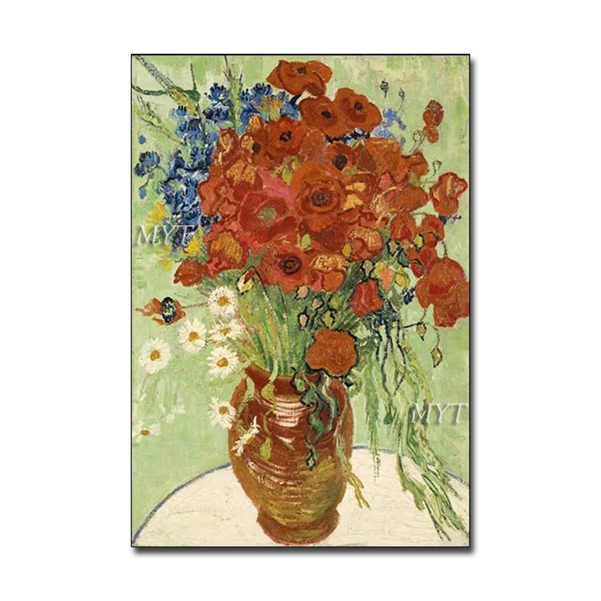 World Famous Textured Flower Canvas Oil Painting Reproduction Canvas Wall Art Grate Paintings Artwork For Living Room Decoration - Smoulder Products