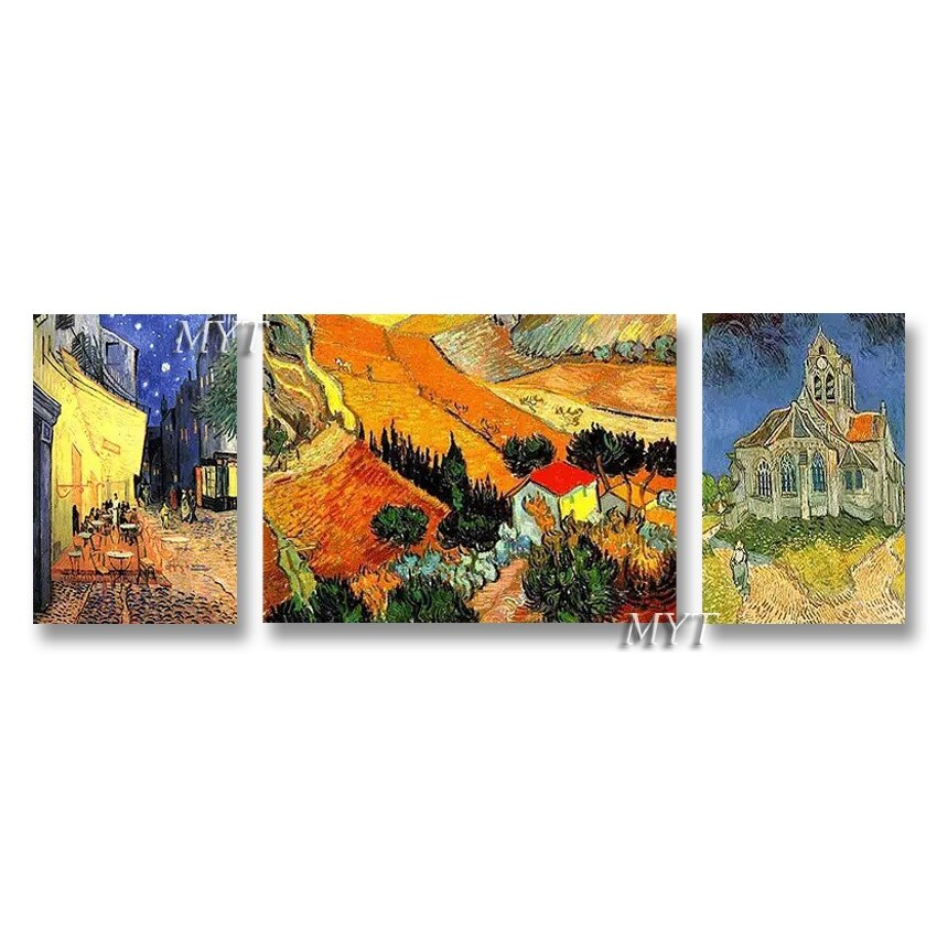 Modern Living Room Decor Van Gogh Oil Painting Reproduction Real Handmade Abstract 3PCS Group Paintings Canvas Wall Art Picture - Smoulder Products