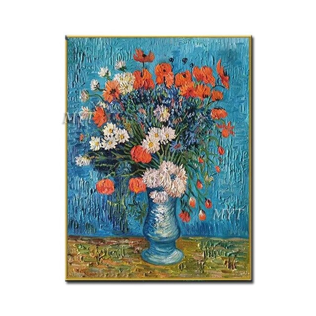 Famous Painting Reproduction 100% Hand-painted Vase Thick Flower Art Master's Oil Paintings Wall Art For Bedroom Decor - Smoulder Products