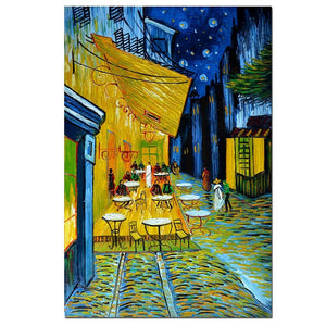 Van Gogh Paintings- Cafe Terrace at Night by Vincent Van Gogh 3D Oil Painting on Canvas Reproductions Hand Painted Wall Art - Smoulder Products
