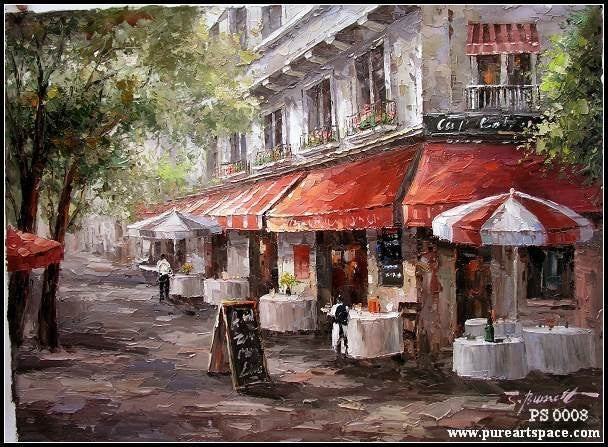 Hand Painted Knife oil painting reproductions,Store front scenery on canvas decoration For Office Par - Smoulder Products