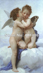 Handmade high quality painting reproduction First Kiss by William Adolphe Bouguereau Perfect love gift for Anniversary,Wedding - Smoulder Products