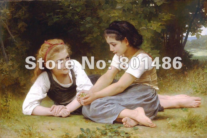 Handmade Oil Painting The Nut Gatherers by William Adolphe Bouguereau Wall Art Famous Painting Reproduction - Smoulder Products