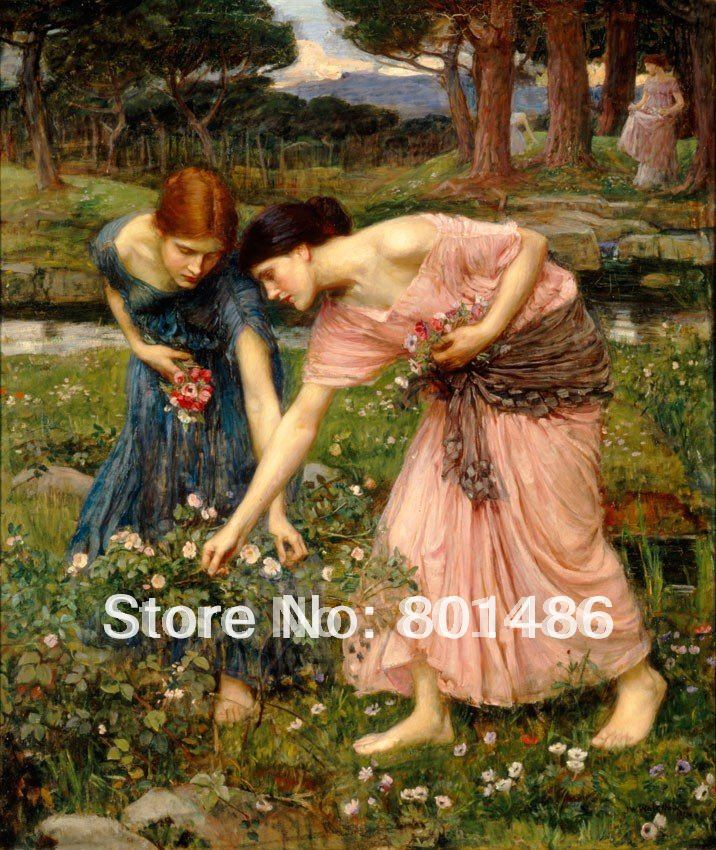 Hand painted oil painting Gather ye Rosebuds while ye may 1909,Famous John William Waterhouse Oil Painting Reproduction - Smoulder Products