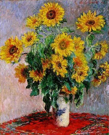 Claude Monet reproduction Bouquet of Sunflowers vase of yellow flowers Wall Art For Home Kitchen Dinning Room Deocr - Smoulder Products