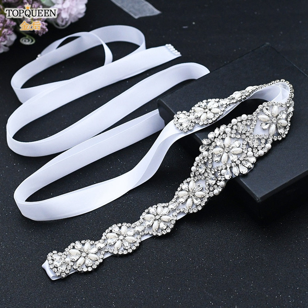 TOPQUEEN S161 Luxury Bridal Belts with Rhinestone Bridal Wedding Accessories Belt for Women Wedding Dress Sash Belt Formal Belts - Smoulder Products