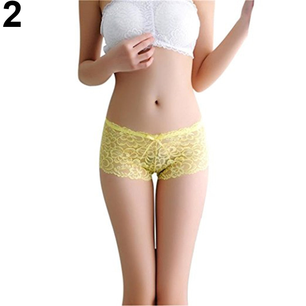 Women Sexy Lace See Through Briefs Panties Bowknot Thongs Underwear Sleepwear - Smoulder Products