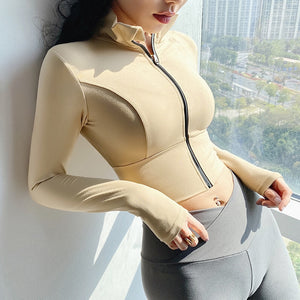 Winter & Autumn Fitness Sports Jacket Women Long Sleeves with Thumb Hole Zipper Design Yoga Shirts Workout Running Gym Top - Smoulder Products