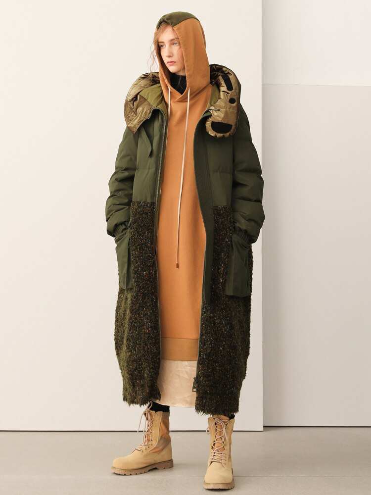 Original Design Women AIGYPTOS Sports Series Design 2020 Winter New Woolen Stitching Hooded Long Down Jacket - Smoulder Products