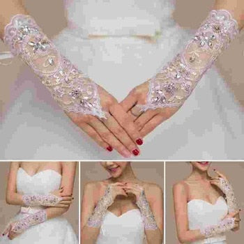 1Pair of full rhinestones wedding gloves sexy lace wrist fingerless wedding evening party bridal short gloves dress - Smoulder Products