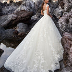 Elegant V-neck Ball Gown Wedding Dress Sweep Train Lace Bridal Gown Custom Made Robe de Mariee 2020 - Smoulder Products