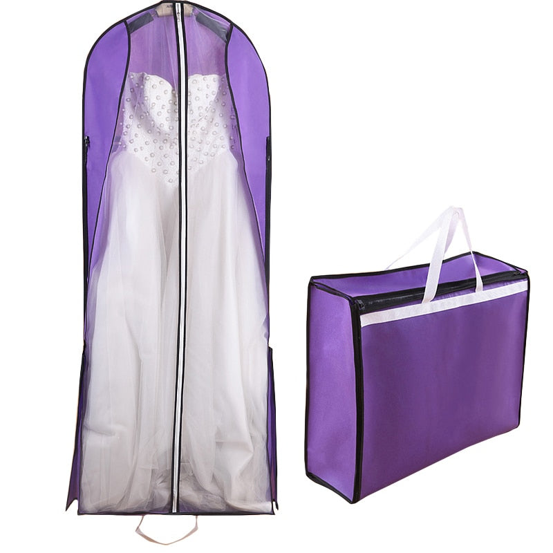 Dual-use Long 150cm Bridal Wedding Dress Robe Dust Cover Travel Coat Suitcase Storage Bag Wardrobe Accessories FG004 - Smoulder Products