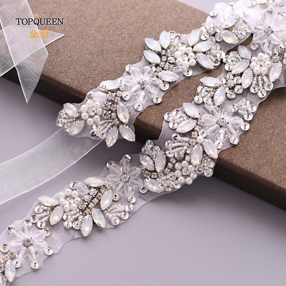TOPQUEEN Wedding Belt Woman Bridal Clear Crystal Opal Cristal Belt Evening Party Dresses Ladies Chain Belt Organza Belt S434 - Smoulder Products