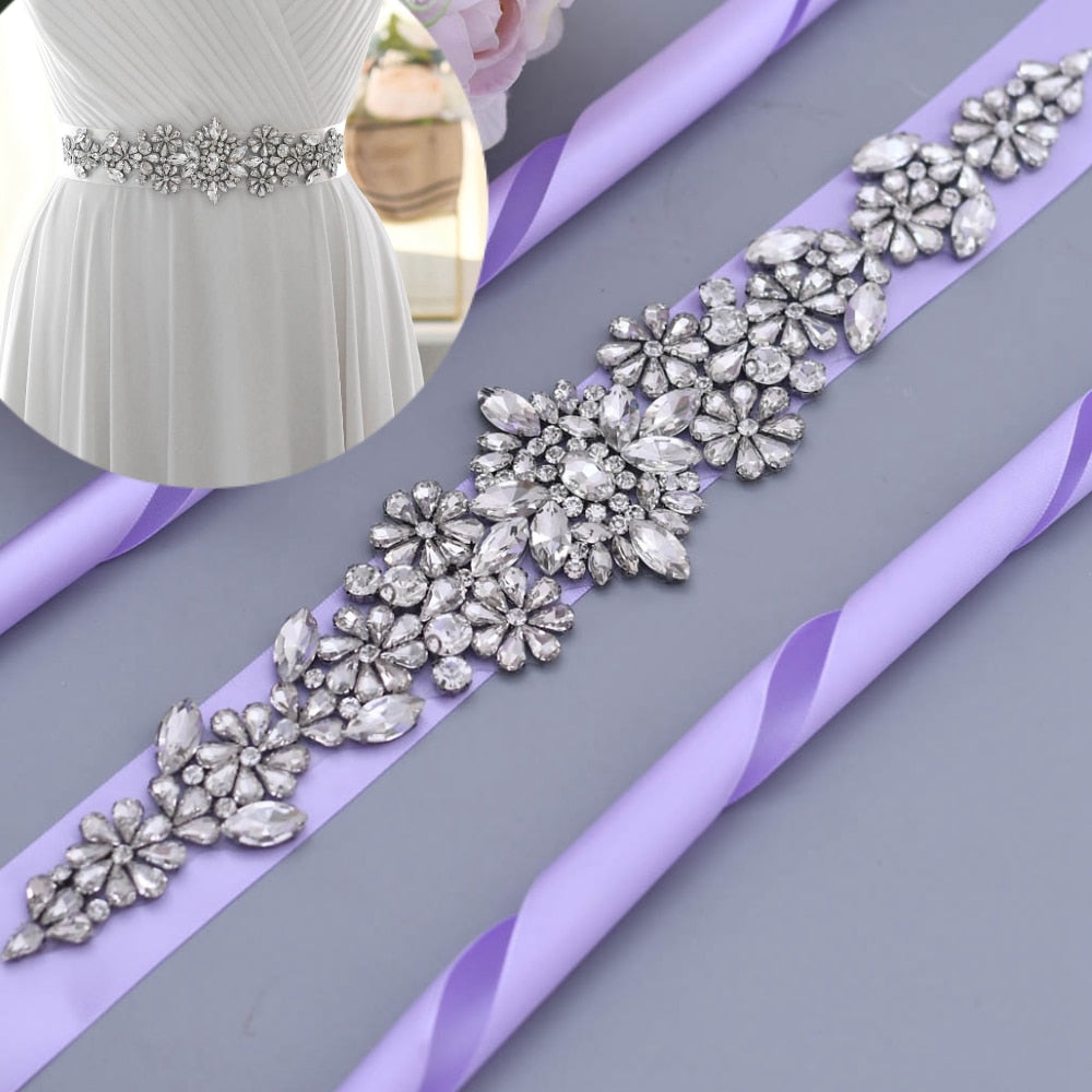TOPQUEEN Rhinestone Belts for Women Sash for Wedding Dress Lavender Dress Sash Formal Gowns Bridal Sash Party Jewel Belt S325 - Smoulder Products
