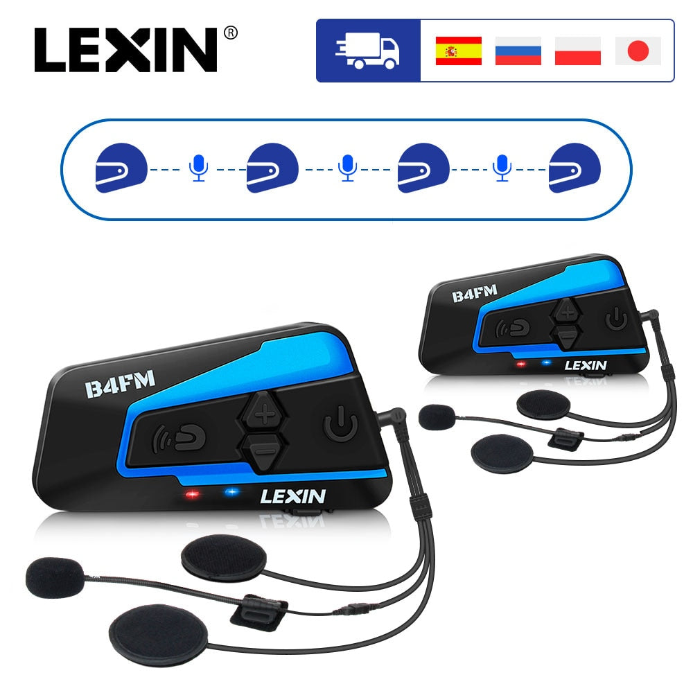 2PCS Lexin B4FM 4 Way Bluetooth Motorcycle Helmet Intercom Headsets, Hands-free wireless helmets intercomunicadores moto music - Smoulder Products