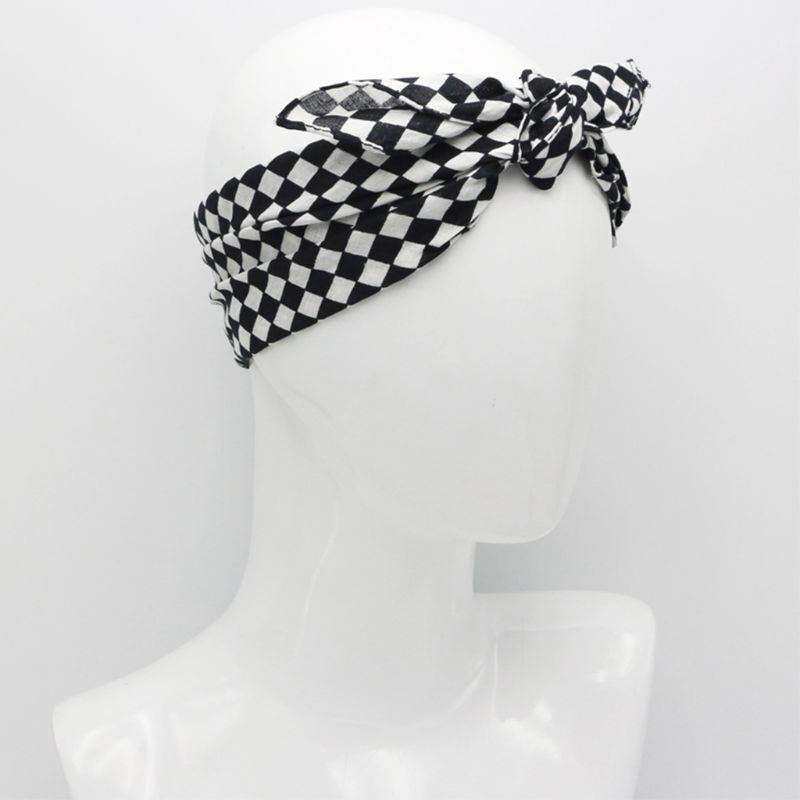 White Black Checkered Flag Racing Bandana Unisex Multi-Use Square Headband Motorcycle Outdoor Sports Hair Wrap Wristband 55x55cm - Smoulder Products