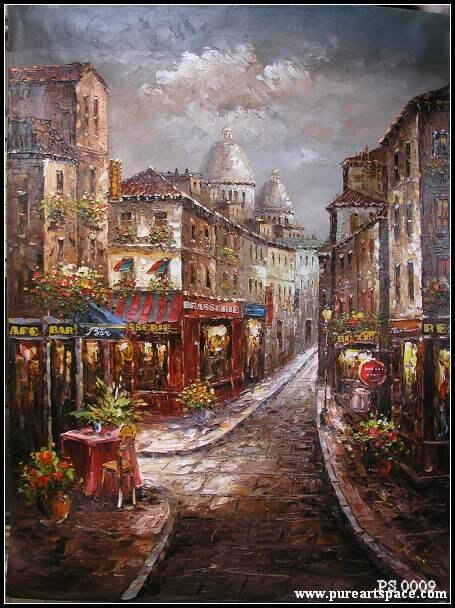 Knife oil paintings -Store front oil painting reproductions for decor on promotion,50*60cm - Smoulder Products