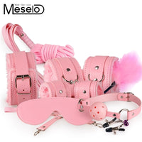 Meselo 10 Pcs/lot BDSM Handcuffs Kit Set PU Leather Adult Games Sex Toys for Couples Adult Sex Product Erotic Toys Handcuffs