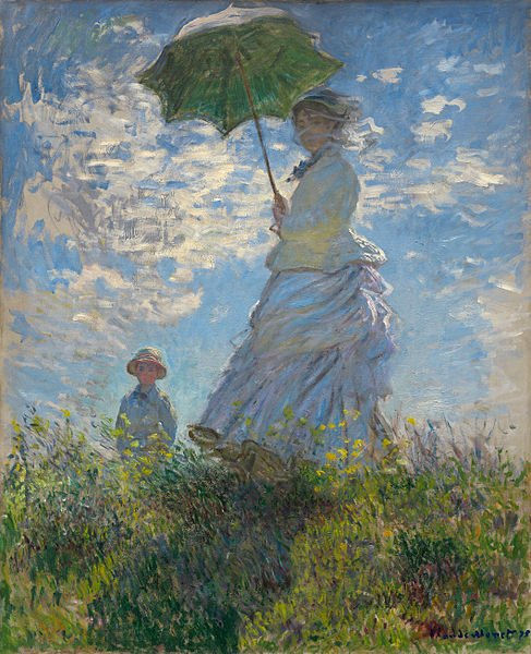 Green umbrella The Walk Woman With A Parasol - Claude Oscar Monet oil painting reproduction decorative art on canvas - Smoulder Products