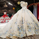LS09476 2018 ball gown wedding dress with color flowers off shoulder sweetheart bridal wedding gowns with long train as photos - Smoulder Products