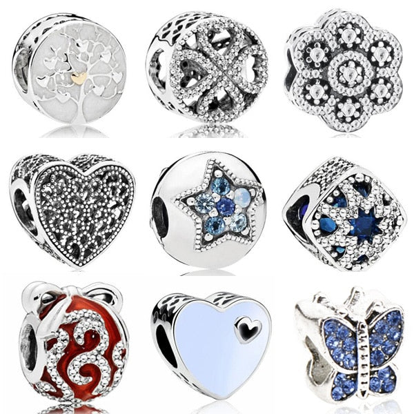 Vintage Punk Small Apple Dog Tree Love Hearts Flowers Beads Charms Fit Pandora Bracelets & Bangles for Women New Fashion DIY - Smoulder Products
