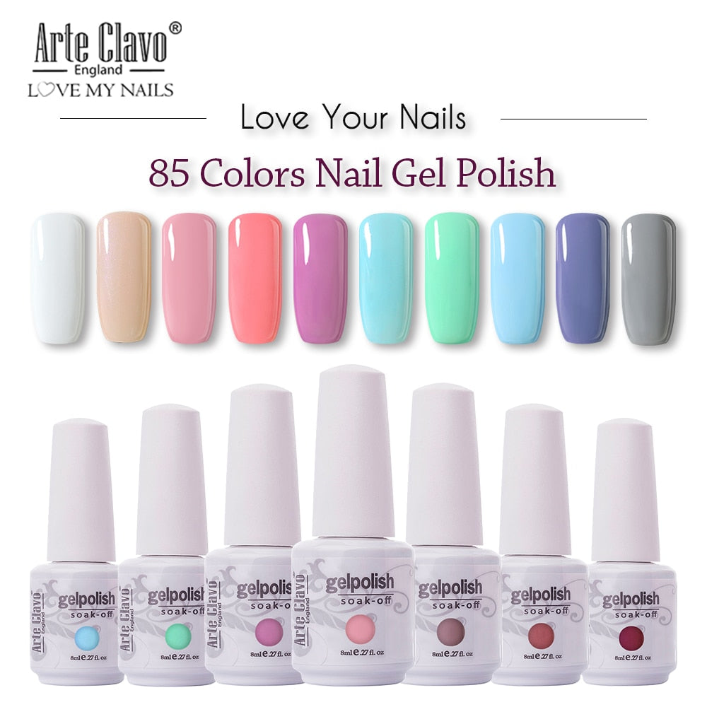 Arte Clavo 85 Colors Gel Nail Polish LED UV Gel For Nail Soak Off Nails Gel Lacquer Glitter 8ML Nude Red Hybrid Nail Polish