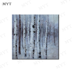 MYT White Birch Forest 100% Hand Made Reproduction Tree Oil Painting On Canvas Wall Art Picture For Living Room Unframed - Smoulder Products