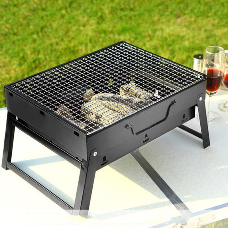 Portable BBQ Barbecue Grills Burner Oven Outdoor Garden Charcoal Barbeque Patio Party Cooking Foldable Picnic for 3-5 Person New - Smoulder Products